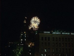 Saint-Jean-Baptiste Day - Fireworks over the Parliament Building in Quebec City on the eve of Saint-Jean-Baptiste Day