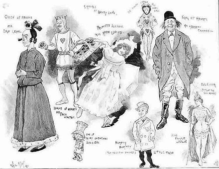 Pantomime characters from the Augustus Harris era including Dan Leno, Marie Lloyd and Little Tich by Phil May Sketches from the 1891 Pantomime at Drury Lane by Phil May.jpg