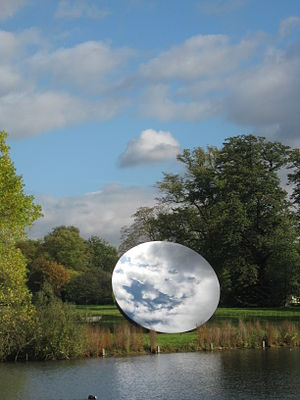 Sky mirror, a sculpture by Anish Kapoor. In Kensington Gardens, London. October 2010.