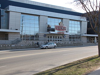 Sleeman Centre (Guelph) - Exterior of the Sleeman Centre as seen from Woolwich St.