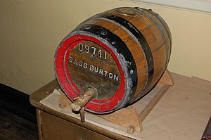Bass Brewery - A small wooden barrel from the Bass Brewery, now in the Staffordshire County Museum at Shugborough Hall