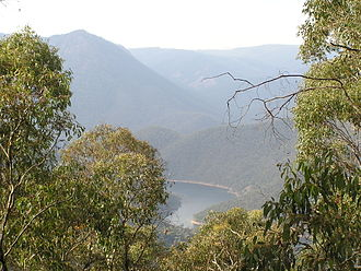 Snowy Mountains Scheme - Talbingo Dam. 16 major dams store water in the scheme. Many were constructed in rugged wilderness areas.