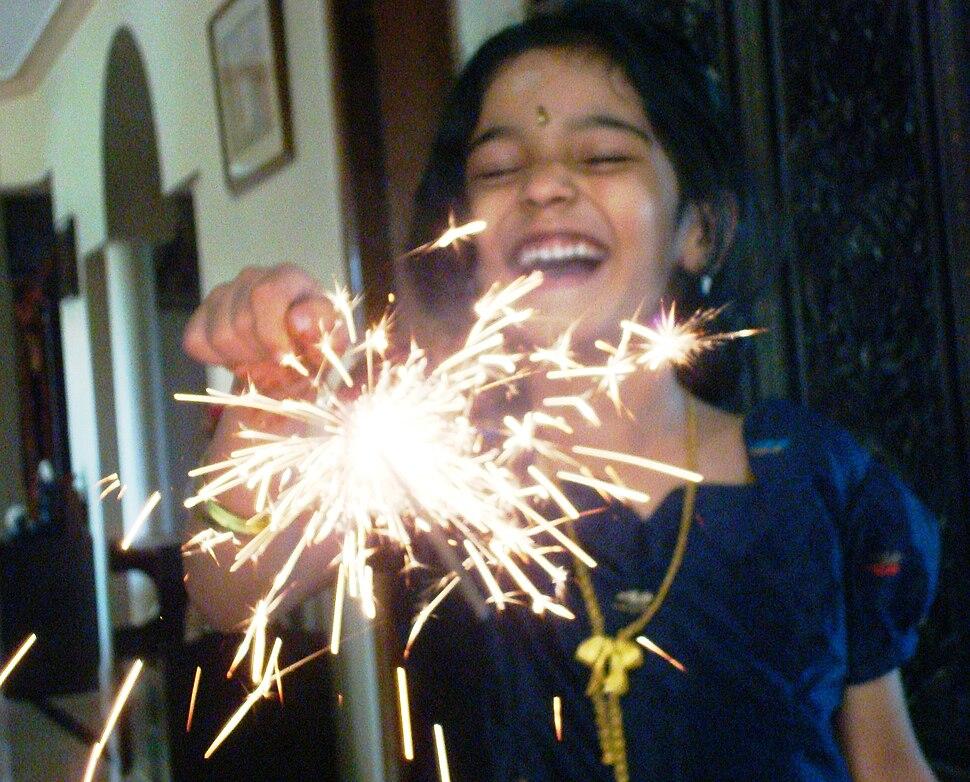 Sparkles phuljhari fireworks on DIWALI, festival of lights