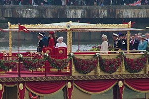 Thames Diamond Jubilee Pageant - The Queen and members of the Royal Family aboard the Spirit of Chartwell