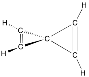 Spiro compound -  A fully carbocyclic spiro compound. Spiro-pentadiene, an esoteric hydrocarbon, in a representation where all carbons and hydrogens are shown explicitly. Note the two cyclopropene rings, each being planar, and the two being non-coplanar (perpendicular) to each other.
