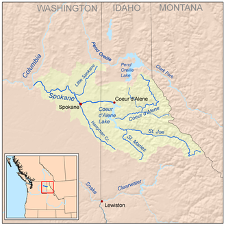 Spokane River - Image: Spokanerivermap