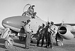 Squadron Leader Dennis Barry (in cockpit) and other pilots of No. 616 Squadron RAF with a Gloster Meteor at Manston, Kent, January 1945. CL3773.jpg