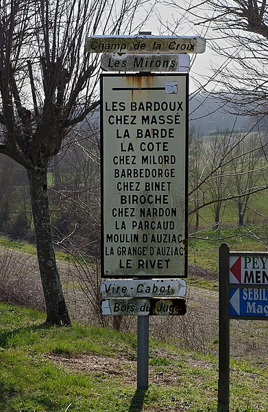 Signposts with hamlet names, Saint-Quentin-de-Chalais, Charente, France.
