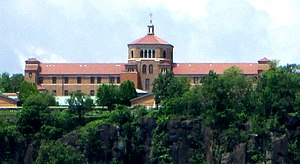 Saint Peter's University - The Englewood Cliffs campus, as seen from Manhattan