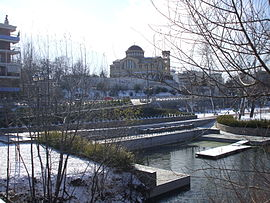 The cathedral of Saint Achillius of Larissa, the city's patron, as seen from Pineios river