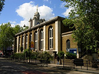 St John on Bethnal Green - View of St John on Bethnal Green from Roman Road.