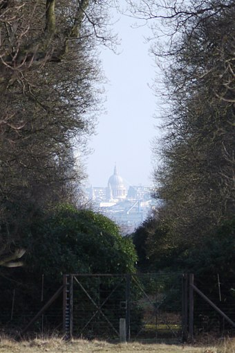 The protected view of St Paul's from King Henry's Mound, before the Manhattan Loft Gardens development was built St Paul's 20997r.jpg