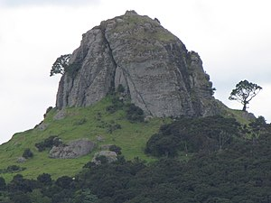 Whangaroa - The St Paul volcanic plug, (Māori name Ohakiri) that rises over the settlement of Whangaroa