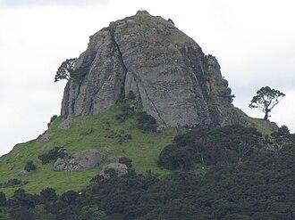 Whangaroa - The St Paul volcanic plug, (Māori name Ohakiri) that rises over the settlement of Whangaroa