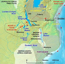 Map showing Msiri's kingdom, with Bunkeya as capital, and the route taken by the Stairs Expedition of 1891 / 1892