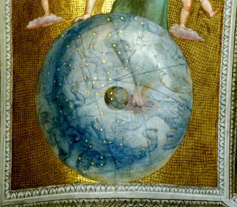 Raffaello nelle Stanze Vaticane, che rappresenta l'oroscopo di Giulio II al momento della sua elezione al soglio pontificio, ovvero il «tempo qualitativo» di questo avvenimento, tradotto in forme simboliche e mitologiche dans immagini varie 800px-Stanza_della_Segnatura_-_Globo_celeste