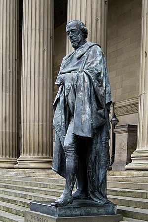 Charles Bell Birch - Statue of Benjamin Disraeli, 1st Earl of Beaconsfield by Charles Bell Birch, 1883, outside St. George's Hall, Liverpool