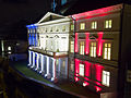 Stenbock House, the seat of the Estonian Government, in French flag colours.jpg