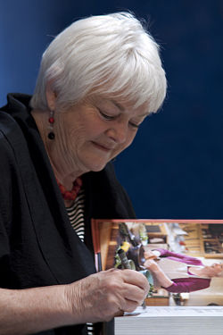 Stephanie Alexander signing one of her books in Adelaide, South Australia