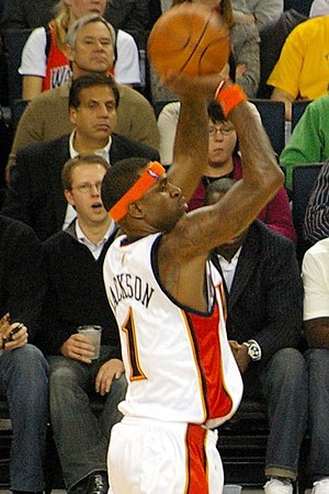 Stephen Jackson - Jackson takes a jump shot during a regular season Warriors game
