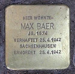 Photo of Max Baer brass plaque