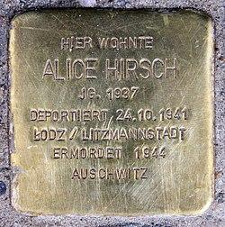 Photo of Alice Hirsch brass plaque