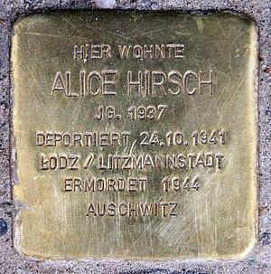 Tauentzienstraße - Image: Stolperstein Tauentzienstr 7 (Schön) Alice Hirsch