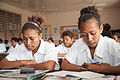 Students from Caritas Technical Secondary School in various classrooms, East Boroko, PNG. (10725920334).jpg