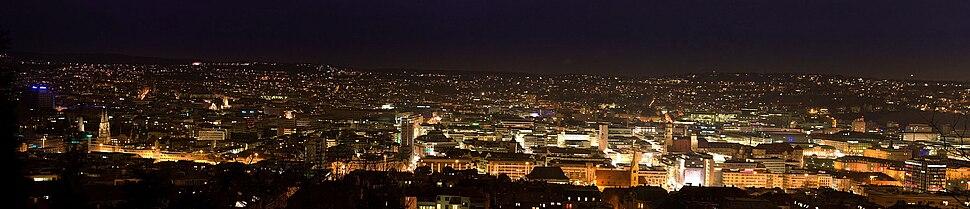 Stuttgart at night, looking northwest