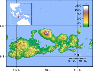 1815 eruption of Mount Tambora - Current topography of Sumbawa