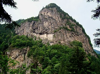 Sumela Monastery - The monastery is on a ledge in a steep cliff