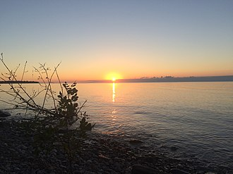 Cedarville Township, Michigan - Sunset over Green Bay from Wells State Park