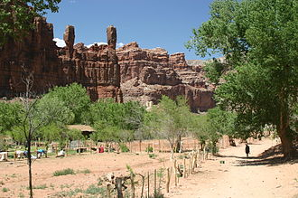 Supai, Arizona - The Wigleeva rock formations watch over Supai