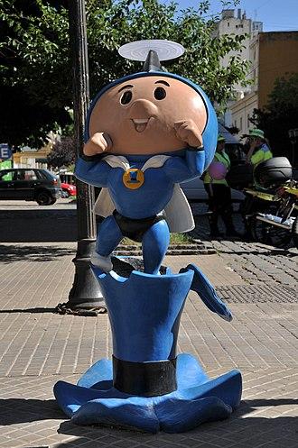 "Hijitus - Statue of Súper Hijitus (Hijitus alter ego) at the ""Paseo de la Historieta"" of Buenos Aires."