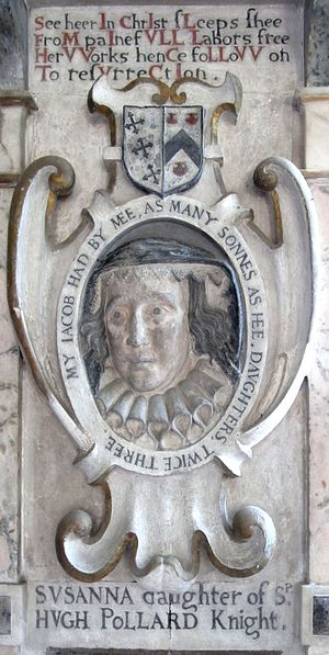 Manor of King's Nympton - Panel in memory of Susanna Pollard (died 1634), detail from monument to her husband John Northcote (1570–1632), Newton St Cyres Church