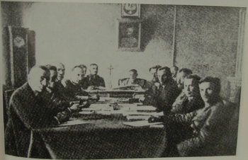 Suwalki Conference. Polish delegates at left, ...