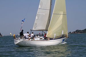 Swan 38 (yacht) - Swan38 GBR123 Xara at the 2013 Swan Europeans in Cowes (GBR) held by the Royal Yacht Squadron