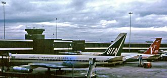 Union de Transports Aériens - A UTA Douglas DC-8 at Sydney Airport in 1969