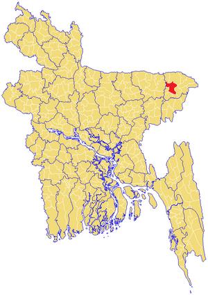 Sylhet Sadar Upazila - Image: Sylhet Upazila Map