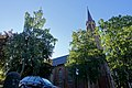Tønsberg domkirke (Tønsberg Cathedral, Lutheran church built 1858) Norway 2020-08-25 Tårn spir (tower) (morning light Parked car) 03179.jpg