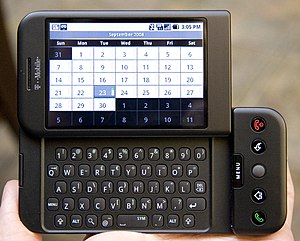 English: T-Mobile's G1 phone (HTC Dream), usin...