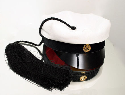 A traditional Finnish technology student's hat from the Helsinki University of Technology. (photograph taken on top of a mirror) - Academic dress