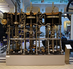 Compound steam engine - Cutaway of triple expansion compound steam engine, 1888