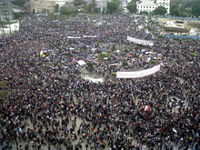 Aerial photo of very large demonstration