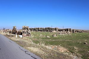 Talin, Armenia - The remains of the 13th-century Caravanserai of Talin, along the road towards Dashtadem at the south