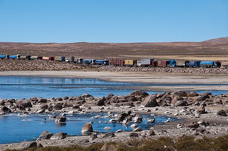 Trucks wating for costums at Bolivian frontier with Chile.