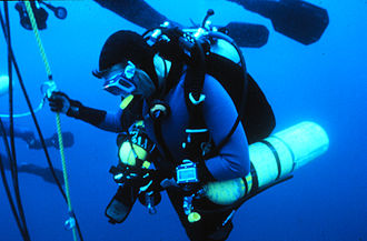 Decompression practice - Technical diver at a decompression stop.