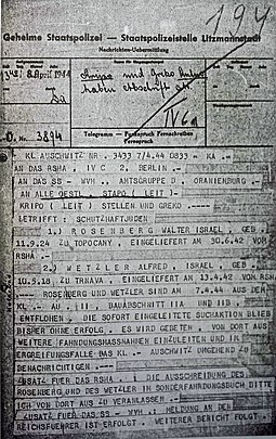 Telegram dated 8 April 1944 from KL Auschwitz reporting the escape of Rudolf Vrba and Alfred Wetzler Telegram, Vrba and Wetzler escape, Auschwitz, 8 April 1944.jpg