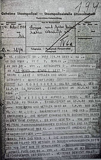Telegram from KL Auschwitz reporting the escape of Rudolf Vrba and Alfréd Wetzler Telegram, Vrba and Wetzler escape, Auschwitz, 8 April 1944.jpg