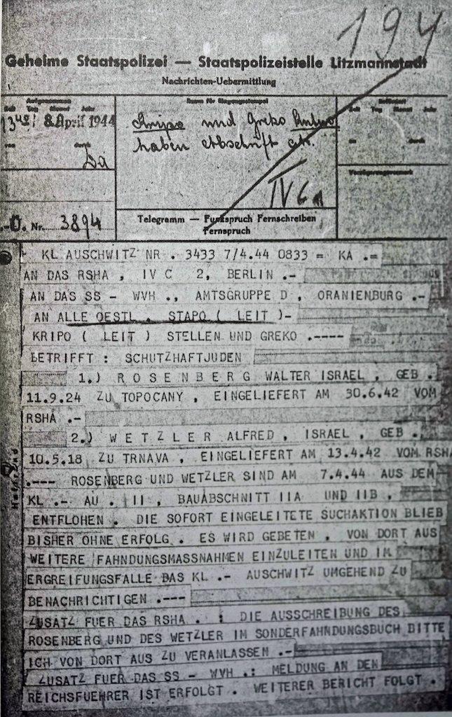 Telegram, Vrba and Wetzler escape, Auschwitz, 8 April 1944